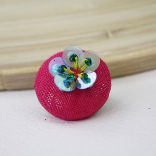 handmade blue floral brooch,  round floral pin