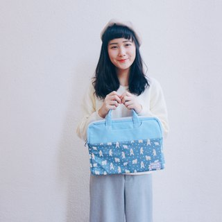 Little white bears in the Arctic - color matching fabric laptop bag (13-14吋) / 815a.m