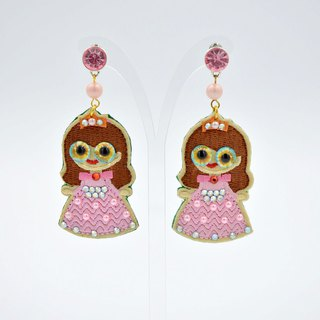 Embroidered Stereo Eyes Little Princess Earrings Swarovski Crystal Decoration