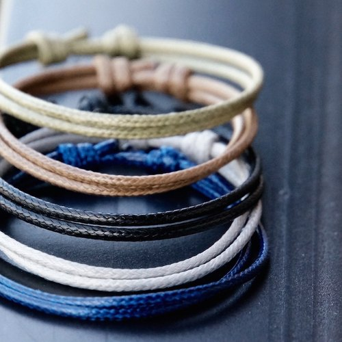ITS: 926 【minimalist series ~ ~ smile circle ~】 wax rope bracelet 1 group (3). Military green / coffee / black / light gray / dark blue (a total of 18 colors).