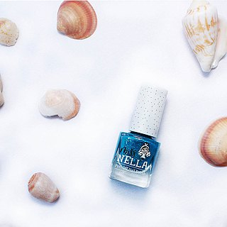 British [Miss Nella] children's water-based tear-proof safety nail polish - sequins deep blue (MN15)