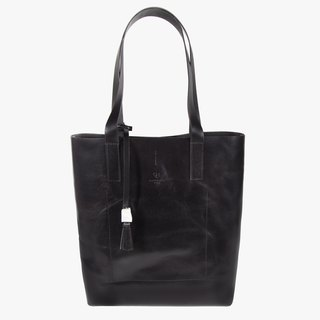 Tote Bag / Leather / Black / Handmade / A4 size / Shoulder Bag