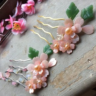 喵Handmade Chinese style wind and wind four claw shells cherry blossom comb (pink/gold/silver)