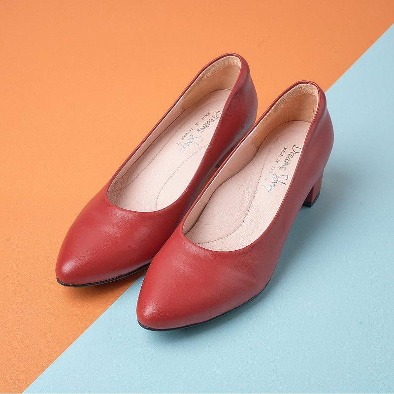 大尺碼女鞋41-45 台灣真皮手工時尚素面簡約尖頭低跟鞋4.5cm 紅色
