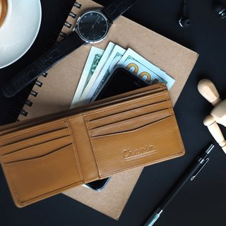 Men purse (Mustard Brown): Wallet, Short wallet, Mustard wallet, Brown Wallet