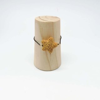 Yellow Star Lava Diffuser Bracelet Black Gold plated Copper Chain Extend Chain