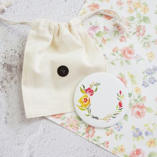 Mstandforc Rose Pocket Mirror with bag | Florals with gold foil service