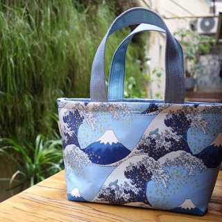 Swing handicraft original fabric hand-drawing rope bunch tote bag lunch bag Japan ukiyo-e wavy cloth