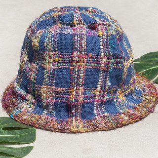 Limited a graduation gift Valentine's Day gift Chinese Valentine's Day gift hand-woven hand-woven cotton cap / fisherman hat / sun visor / Patch Hat / handmade hat / hand crochet - Colorful rainbow handkerchief saree blue star