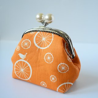 Cosmetic Frame Purse - Bird & Wheel - Portable and multiple purposes - organic fabric
