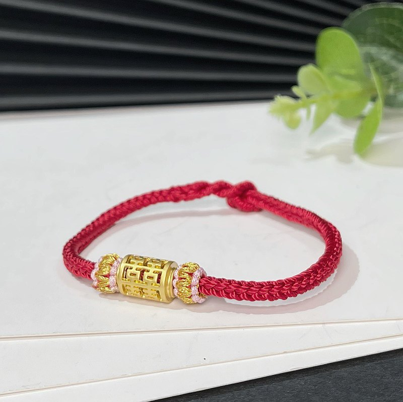 Zodiac year red string bracelet hand-woven four-sided eight-strand diamond knot bracelet with hi-character barrel beads ancient gold