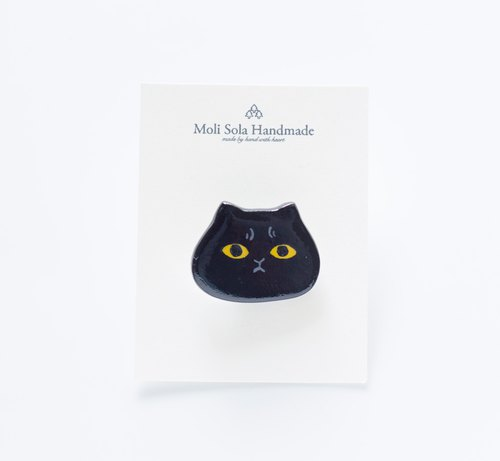 Hand made black cat brooch accessories