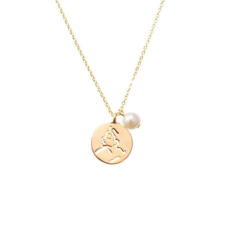 ALYSSA & JAMES 沉默的女孩 鏤空吊牌天然珍珠 925純銀鍍金色頸鏈