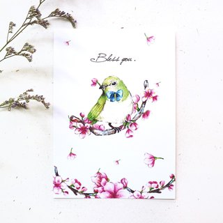 Green embroidered eye and cherry blossom postcard