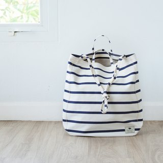 Oversize Tote Bag - darkblue and white