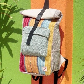 Tanabata gift limited a hand cotton and linen stitching design backpack / shoulder bag / national mountaineering bag / patchwork package - Morocco sunset Boho carpet national totem backpack