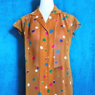Dotted short-sleeved vintage shirt / Bring back VINTAGE abroad