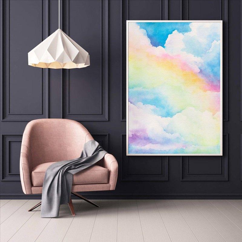 【雨後彩虹】限量複刻畫   藍天雲彩水彩畫   雲朵風景藝廊牆掛畫