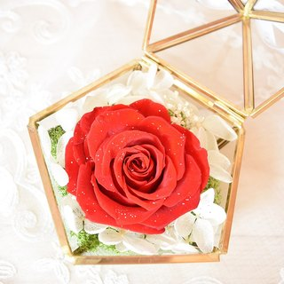 Red Diamond Rose Glass Treasure Box Everlasting Flower / Valentine's Day / Marriage / Anniversary / Wedding Arrangement