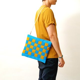 RAINY DAY-Hand-made color block stitching waterproof canvas oblique side back / tablet bag