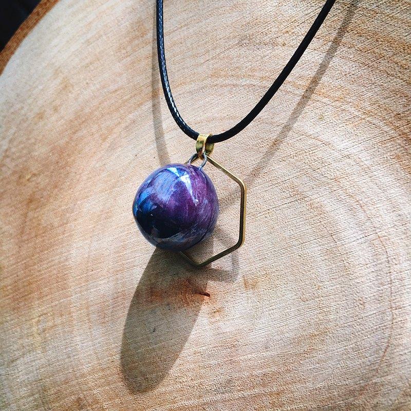 手作白瓷  香水精油項鍊 深紫珍珠光 六角銅環 擴香