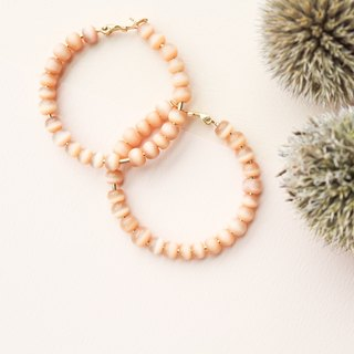[Day daily] orange pink beaded cat eye round earrings