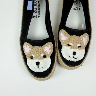 Black cotton canvas hand-made shoes Shiba models have weaving