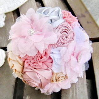 Wedding fabric flower bouquet, bridal bouquet, briidesmaid bouquet B006