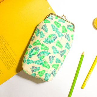 Grass green mouth gold bag / phone bag / pen bag / glasses bag / storage bag