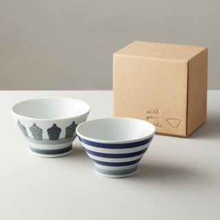 Shibamaru Sazomi-Burn - Blue Wine Bottle - Blue and Blue Couples Bowl (2 pieces)