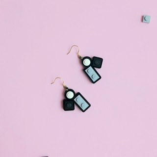 Classic mini silver earrings LEGO  Black white gray