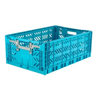 Turkey Aykasa Folding Storage Basket (L) - Turkey Blue