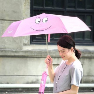[Mr. BARBAPAPA Bubble] rain and light · ultra-light folding automatic umbrella - classic pink smile