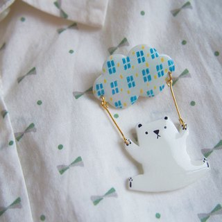 Hand-painted series, away, bear, night sky, building brooch