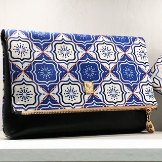 Gorgeous Art Design Clutch Bag Black Blue and White Bag Long Shoulder Strap Removable Messenger Bag IPAD Bag