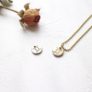 Horoscope sign-brass necklace-Gemini