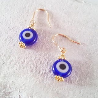 EVIL EYE Eliminate the evil eye Turkish glass K14GF earrings 2