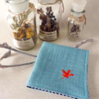 Hand embroidered gauze handkerchief Japanese maple(order-receiving)