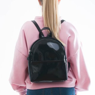 WAVE backpack black patent leatherette