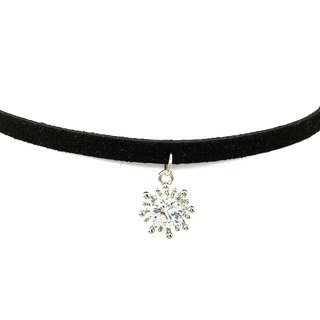 Silver snowflake diamond necklace