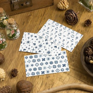 "10 pieces set. From three patterns. A small word. Message card ""Navy Star Flower Bird"" MC"