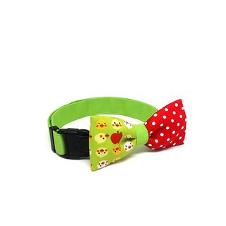 GOOOD Dog Collar (Medium Sz) | Smarty - Apple of My Eye | 100% Red Polka & Cute Duck Cotton Fabric