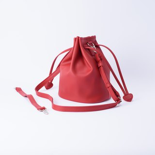 Candy Department Bundle large bucket bag portable shoulder and back to replace the Mira Red / beautiful red