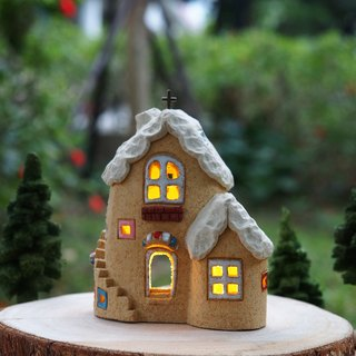 Lighthouse House - Cute Home / White Room Ceramic Lighted House (without wood accessories with hand tree)