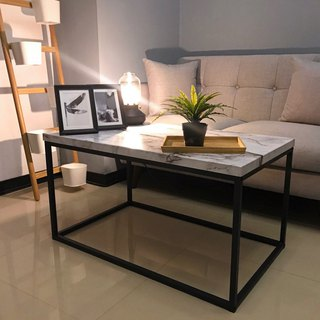 White marble embossed coffee table