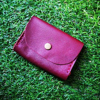 Double-layer card leather coin purse - deep wine red