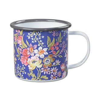UK imports Wild&Wolf and V&A joint design 珐琅 mug (blue luxury flower sketch)