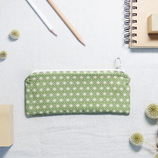 Hand made vintage geometric pencil case - green