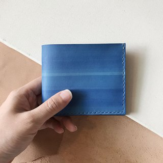 Leather short clip _4 card layer _2 banknote layer _ sky blue