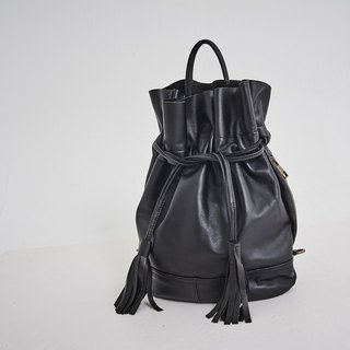Drawstring Tassel Hand Strap Backpack Black